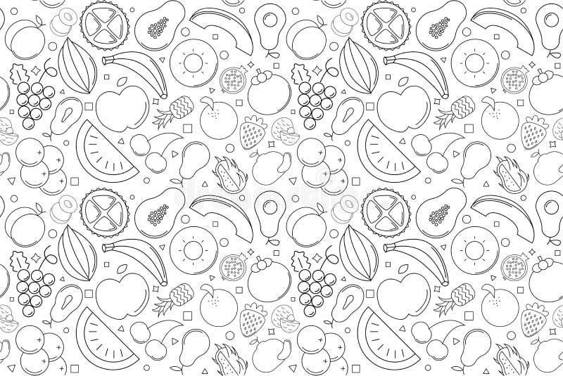 Wektorowy owoc wzór tła bezszwowy owocowy ilustracji