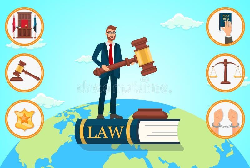 Wektorowy Płaski Ilustracyjny prawnik Polega na prawie ilustracji