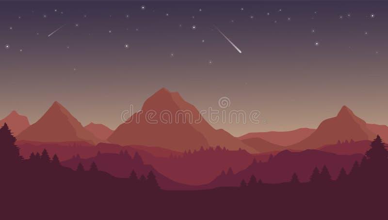 Wektorowy płaski kreskówki nocy krajobraz z czerwonymi, purpurowymi sylwetkami i, royalty ilustracja