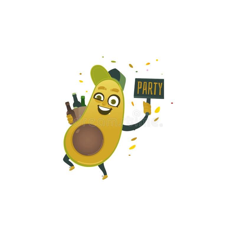 Wektorowy płaski śmieszny avocado owoc charakteru piwa przyjęcie ilustracji