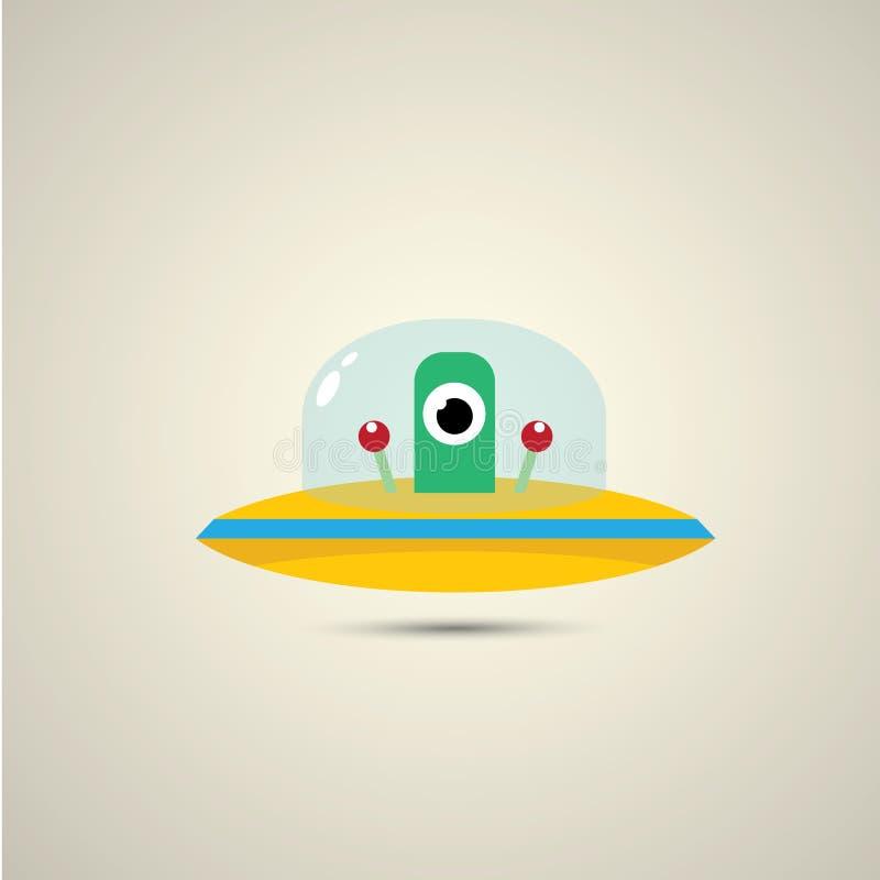 Wektorowy płaski śmieszny pomarańczowy obcy statku kosmicznego logo royalty ilustracja