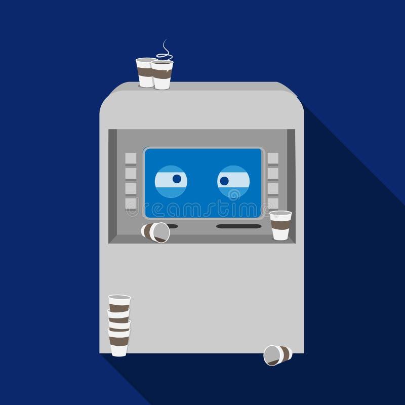 Wektorowy płaski śmieszny zmęczony ATM z filiżankami ilustracji