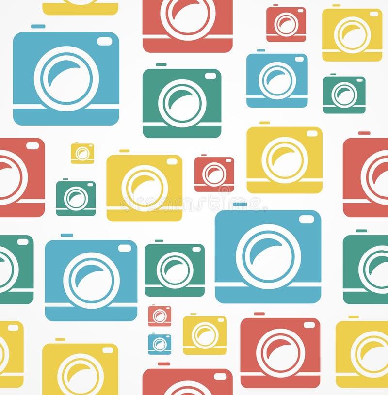 Wektorowy Płaski bezszwowy fotografii kamery wzór royalty ilustracja