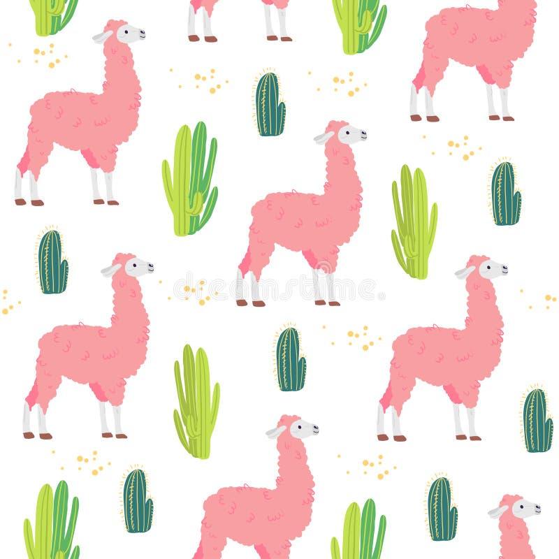 Wektorowy płaski bezszwowy wzór z śliczna ręka rysującymi lam zwierzętami, pustynnym kaktusem odizolowywającymi na białym tle i ilustracja wektor