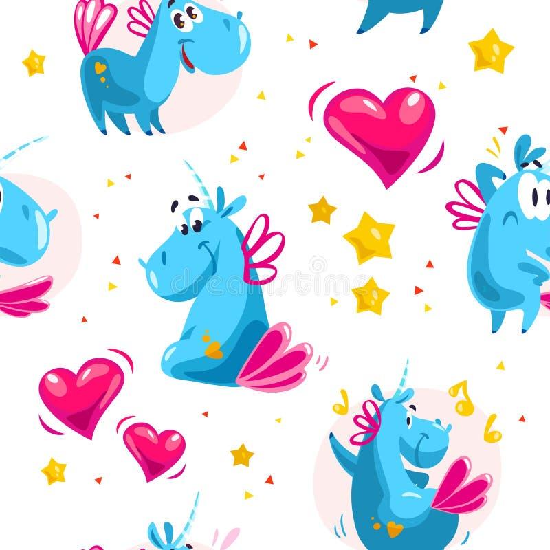 Wektorowy płaski bezszwowy wzór z śmiesznymi jednorożec charakterami, gwiazdami i sercem odizolowywającymi na białym tle, ilustracji