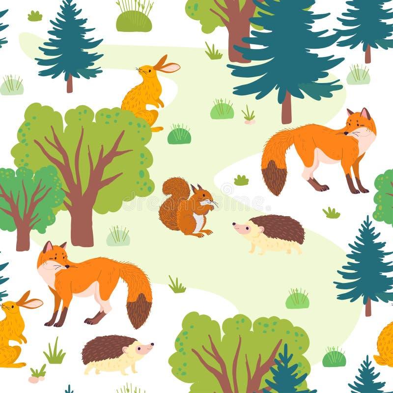 Wektorowy płaski bezszwowy wzór z dzikimi lasowymi drzewami, trawą i zwierzętami odizolowywającymi na białym tle, ilustracja wektor