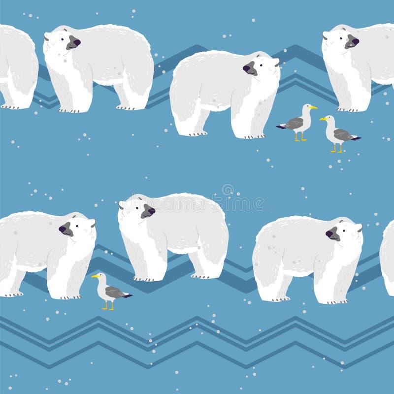 Wektorowy płaski bezszwowy wzór z ręki rysującymi północnymi niedźwiedzi polarnych zwierzętami, śnieg, seagull, góry na zima kraj ilustracji