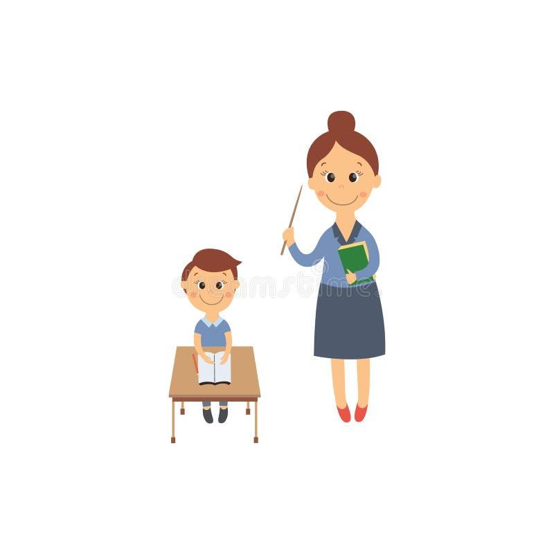 Wektorowy płaski chłopiec obsiadanie przy biurkiem i nauczycielem ilustracja wektor