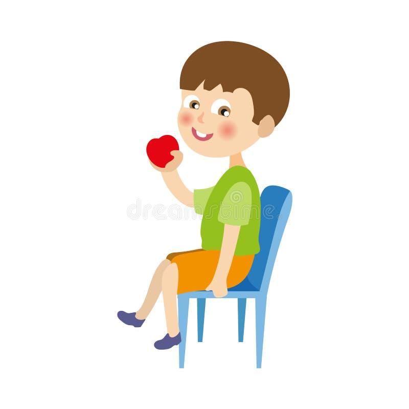 Wektorowy płaski chłopiec obsiadanie przy krzesła łasowania jabłkiem ilustracji