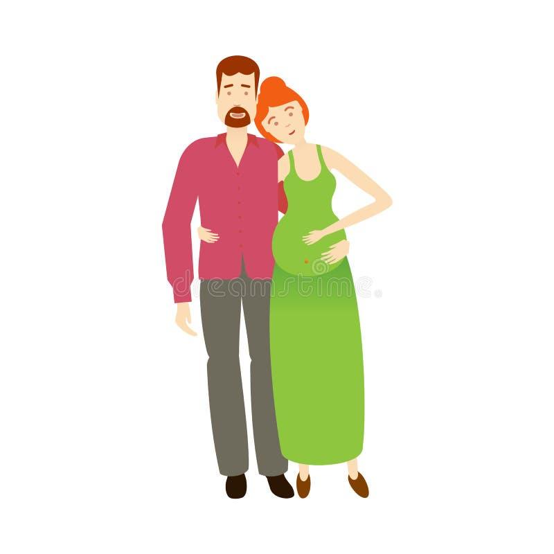 Wektorowy płaski dorosły mężczyzna i kobieta w ciąży odizolowywający royalty ilustracja