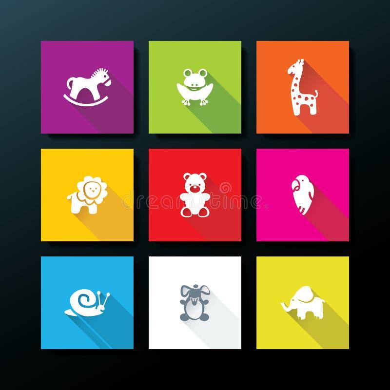 Wektorowy płaski dziecko zabawki ikony set ilustracji