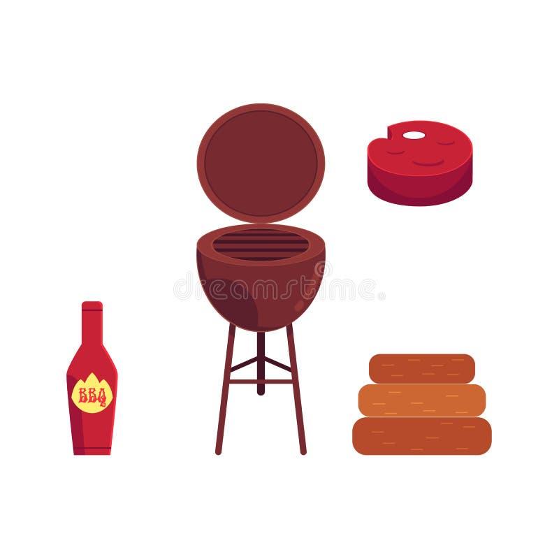 Wektorowy płaski grill, bbq grilla symbole ustawiający ilustracja wektor