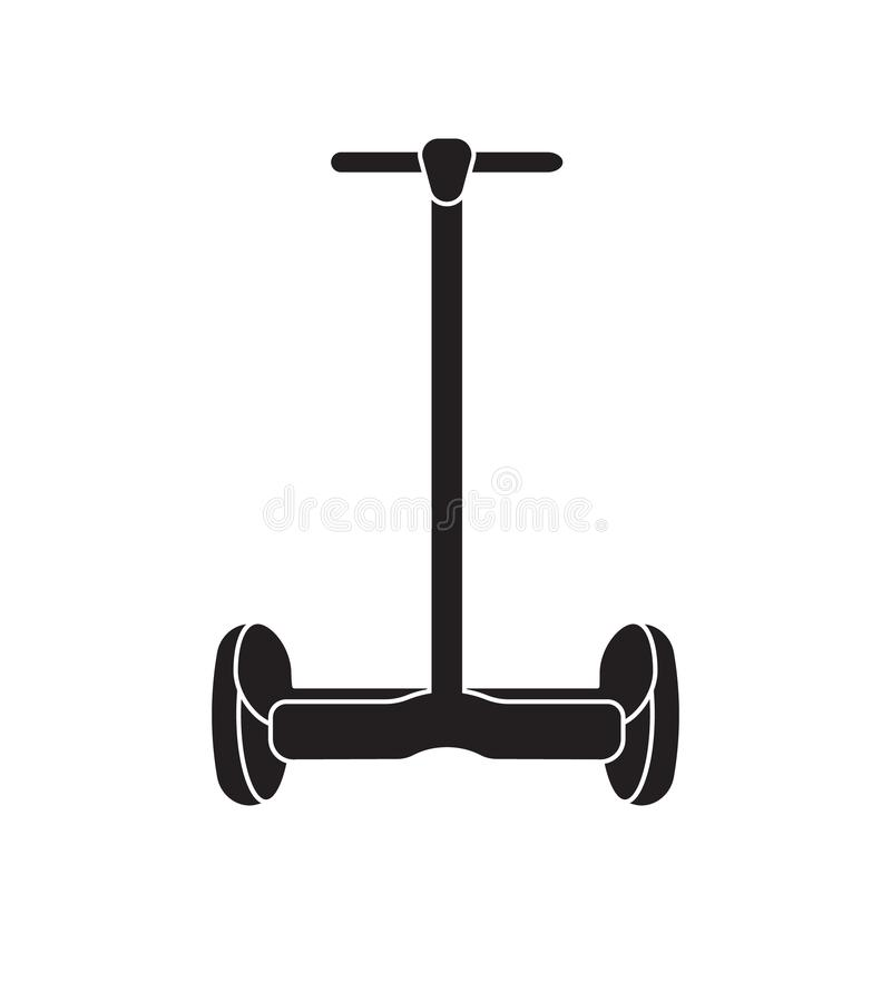 Wektorowy płaski ikona logo hoverboard gyroscooter ilustracji