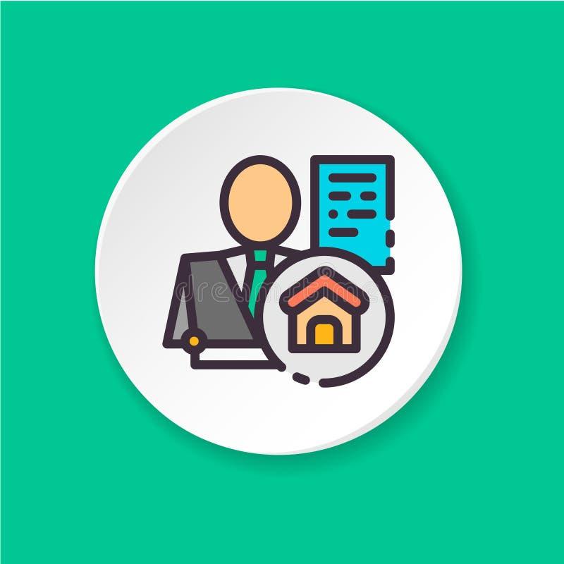 Wektorowy płaski ikony pośrednik handlu nieruchomościami Guzik dla sieci app lub wiszącej ozdoby UI/UX interfejs użytkownika royalty ilustracja