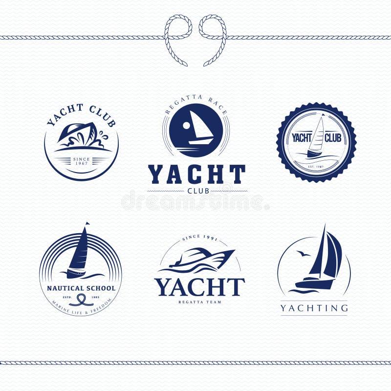 Wektorowy płaski jachtu klub, regatta loga projekta set royalty ilustracja