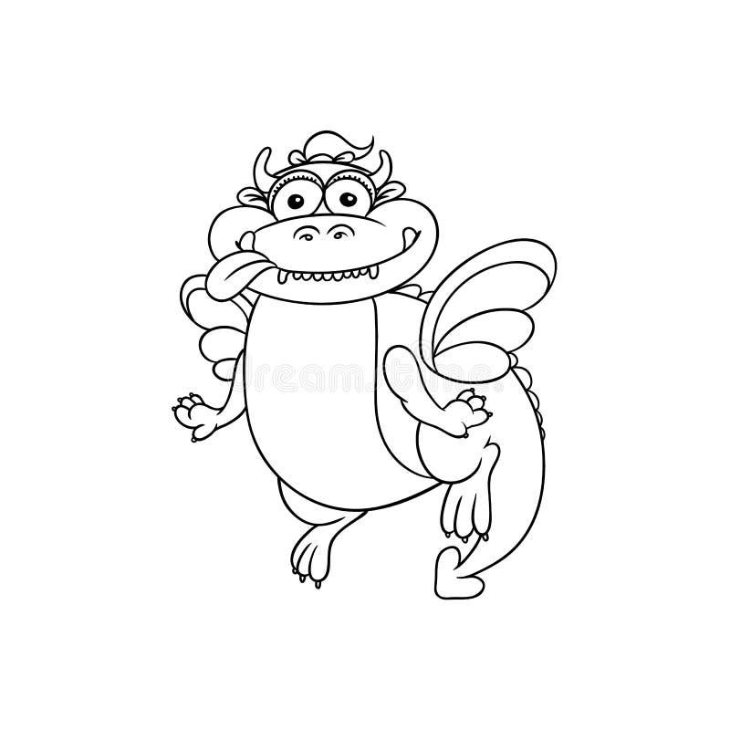 Wektorowy płaski kreskówka smok z rogami, skrzydła ilustracja wektor