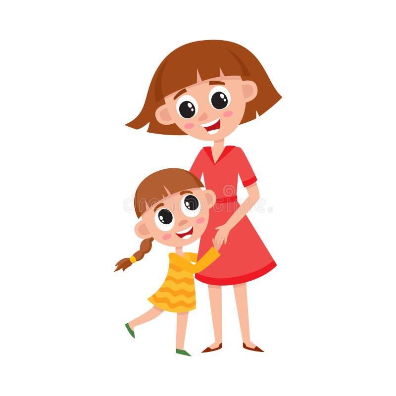 Wektorowy płaski kreskówki córki i matki przytulenie royalty ilustracja