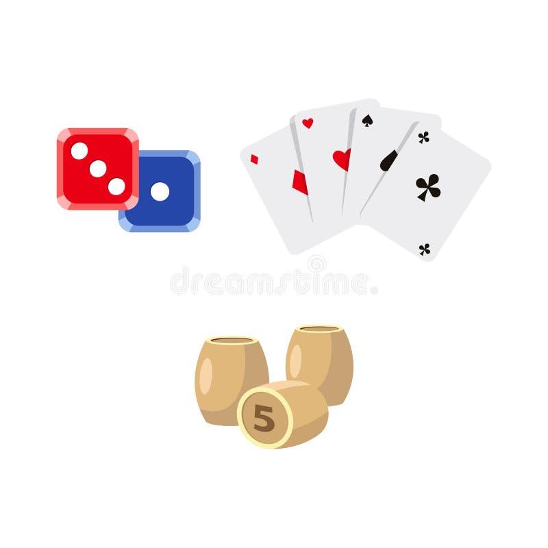 Wektorowy płaski kreskówki kasyno, uprawia hazard symbole ustawiających ilustracji