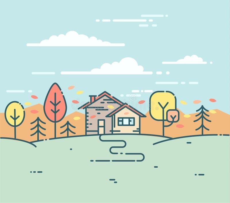 Wektorowy płaski liniowy podmiejski dom w jesień lesie ilustracja wektor