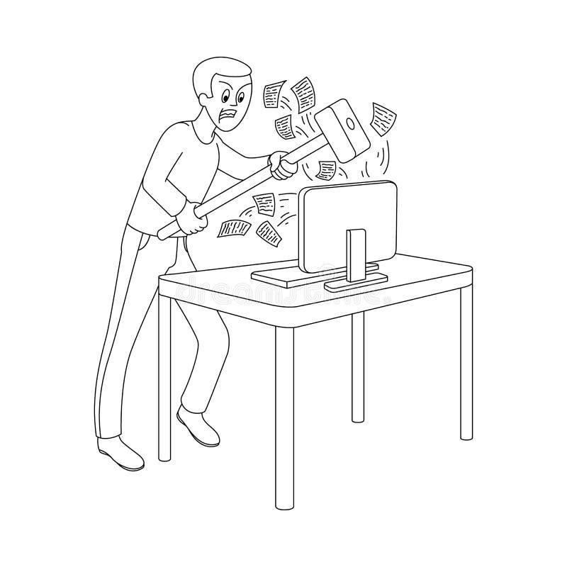 Wektorowy płaski mężczyzna z hummeru łamania monitorem ilustracji
