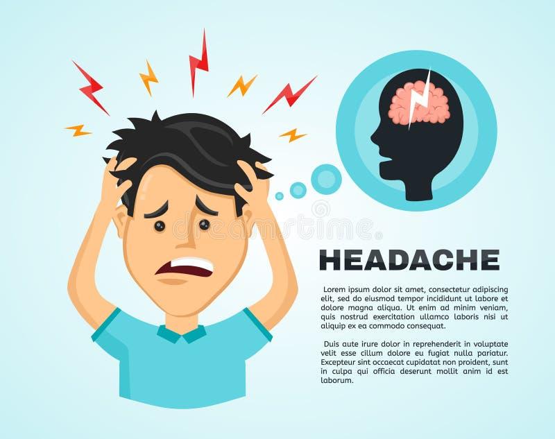 Wektorowy płaski mężczyzna z migreną, współczucia zmęczenie, a z chorobą głowa, urzędnik trzyma jego głowę z jego ręką royalty ilustracja