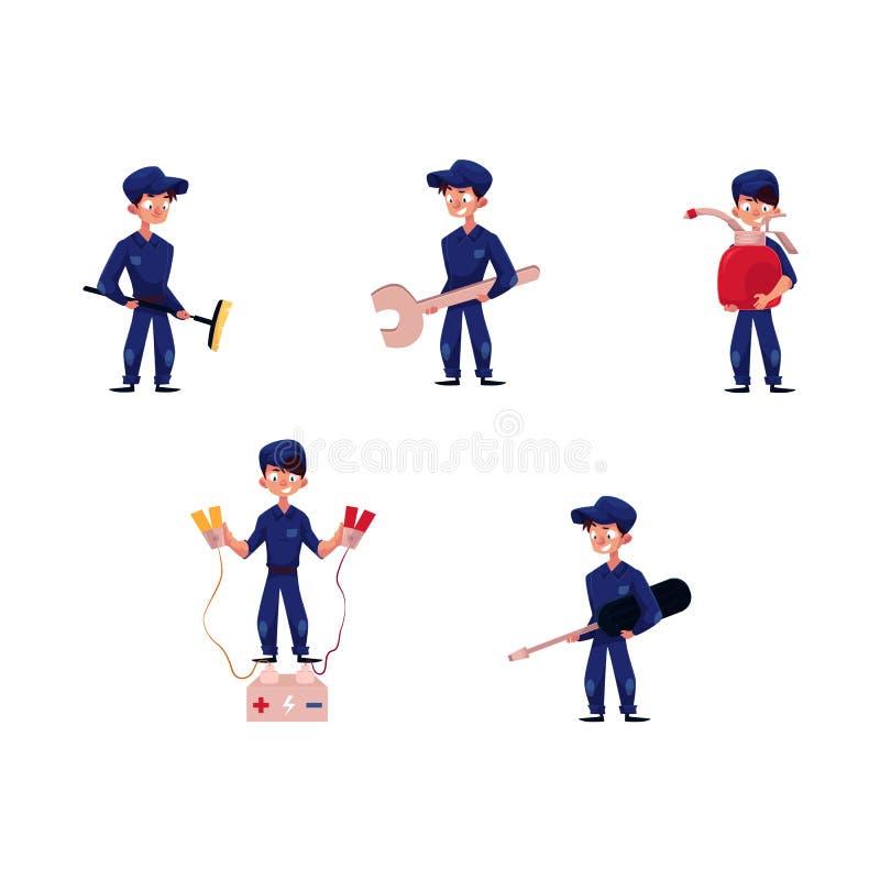 Wektorowy płaski młody mechanik chłopiec set royalty ilustracja