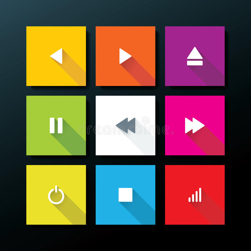 Wektorowy płaski medialny ikona set ilustracja wektor