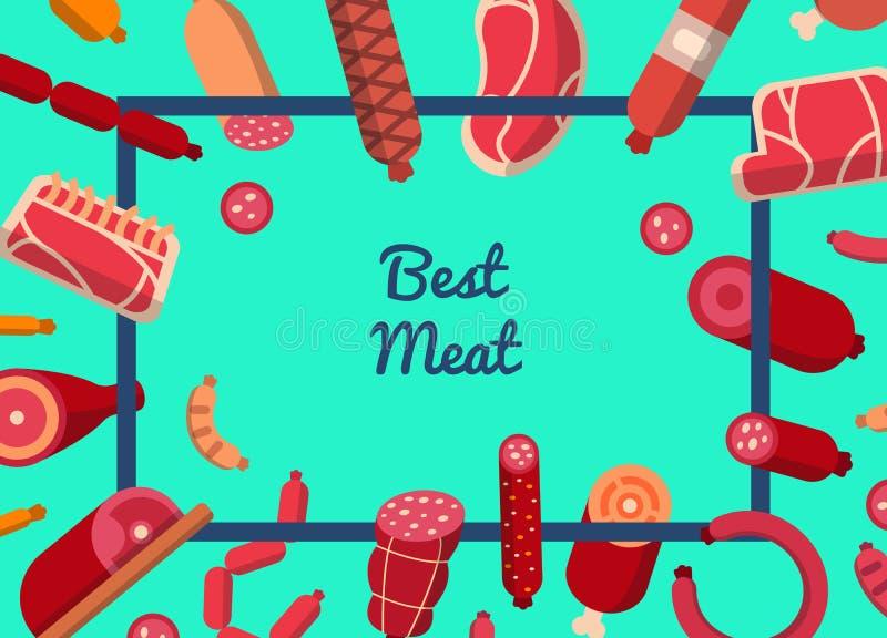 Wektorowy płaski mięsa i kiełbas ikon tło z miejscem dla tekst ilustracji ilustracji
