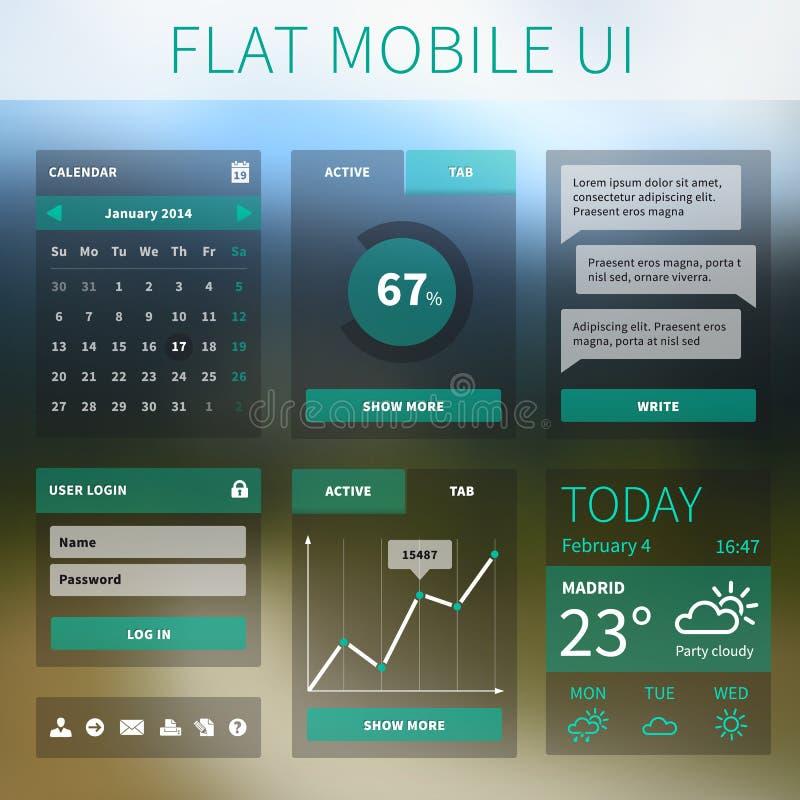 Wektorowy płaski Mobilny sieci UI interfejs royalty ilustracja