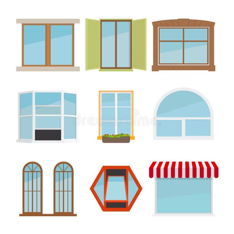 Wektorowy płaski okno set ilustracja wektor