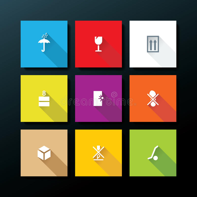 Wektorowy płaski pakuje ikona set ilustracji