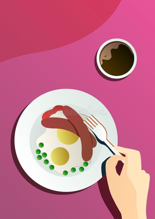 Wektorowy płaski plakatowy cateringu przyjęcie z ludźmi ręk i talerzem z naczyniami od menu, odgórny widok royalty ilustracja