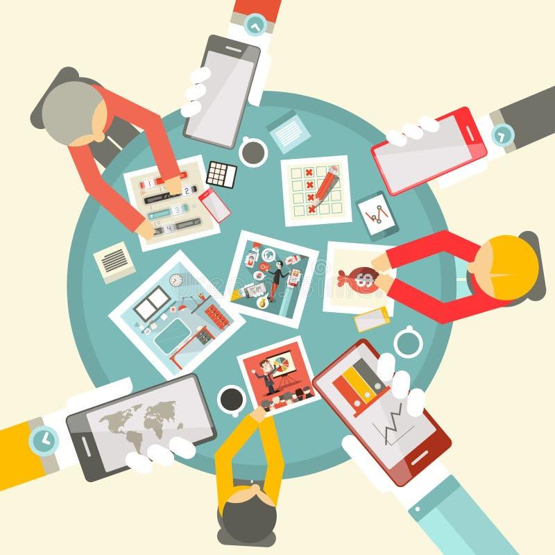 Wektorowy Płaski projekta Odgórnego widoku Biznesowy spotkanie ilustracji
