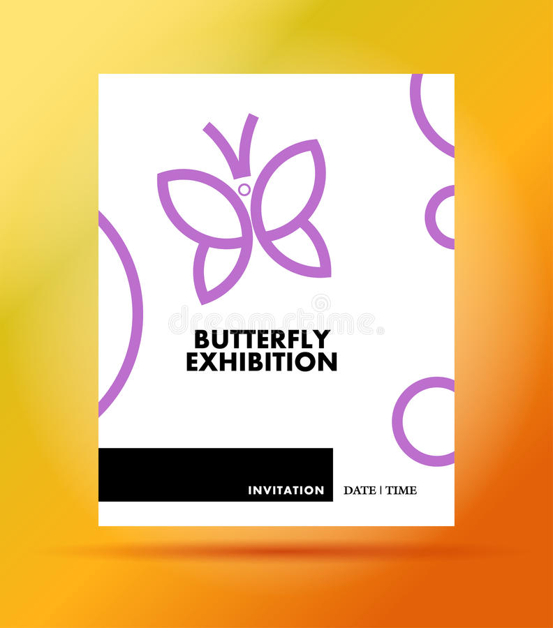 Wektorowy płaski prosty minimalistic motyli powystawowy zaproszenie szablon ilustracji