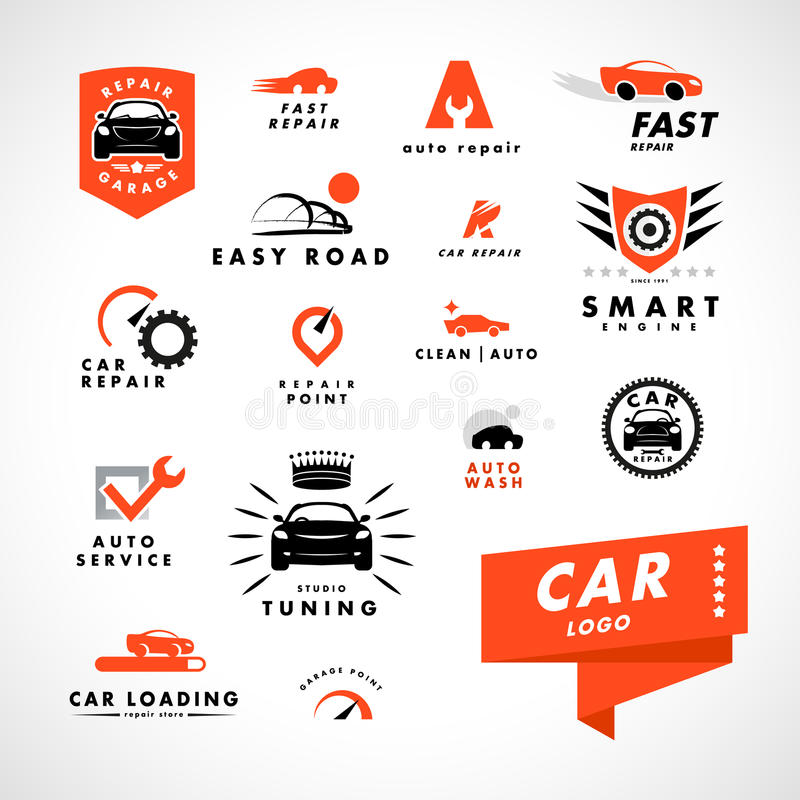 Wektorowy płaski prosty minimalistic samochodowy logo ilustracja wektor