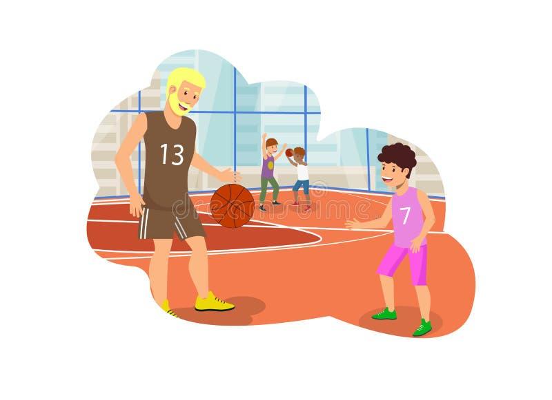 Wektorowy Płaski tata i syn Bawić się w koszykówce royalty ilustracja