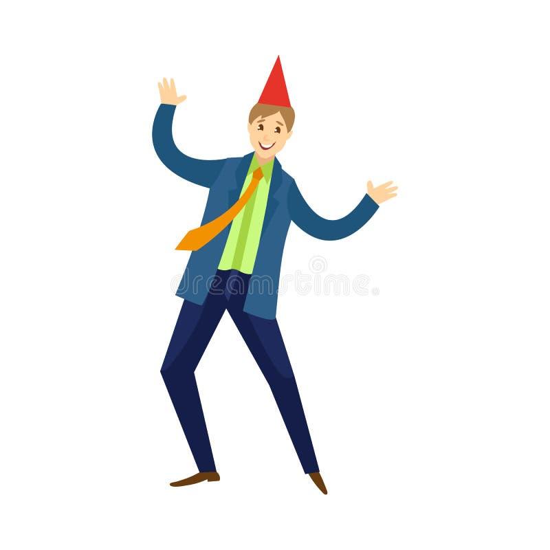 Wektorowy płaski urzędnika mężczyzna taniec przy przyjęciem royalty ilustracja
