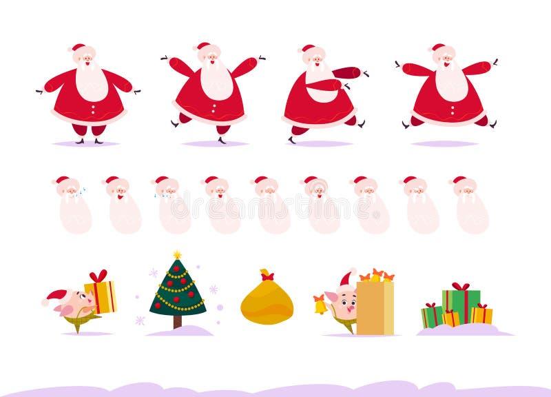 Wektorowy płaski ustawiający Wesoło boże narodzenia szczęśliwy Święty Mikołaj w różnych pozach, emoci kolekcja, świniowaty elf ilustracji
