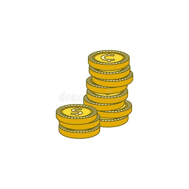 Wektorowy płaski złoty dolarowy cent ukuwa nazwę kolumnę ilustracji