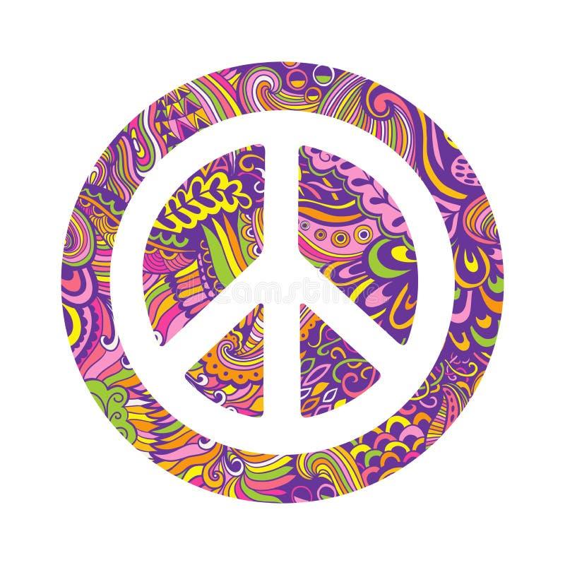 Wektorowy pacyfizmu znak Hipisa stylowy ornamentacyjny tło Miłość, pokój, pociągany ręcznie doodle tło i tekstury, Kolorowy peac ilustracja wektor