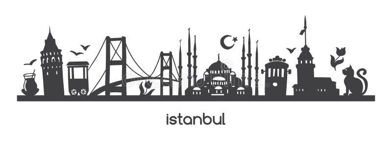 Wektorowy panoramiczny ilustracyjny Istanbuł z czarną sylwetką tureccy symbole i punktami zwrotnymi Turcja royalty ilustracja