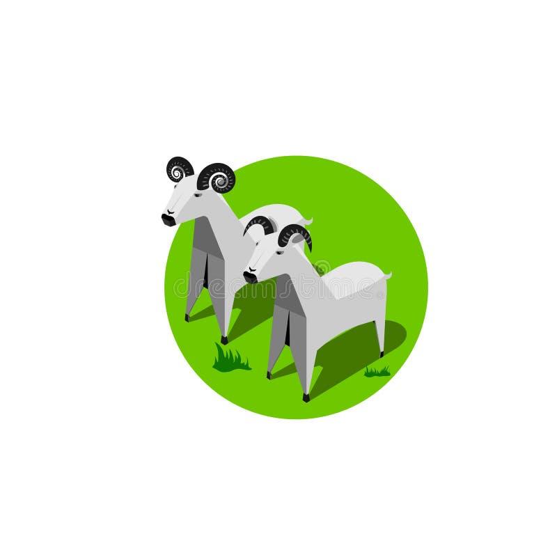 Wektorowy Papierowego pudełka zwierzę, kózki ilustracji