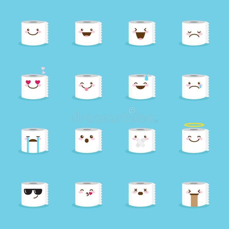 Wektorowy papieru toaletowego emoji set zabawne emoticons royalty ilustracja