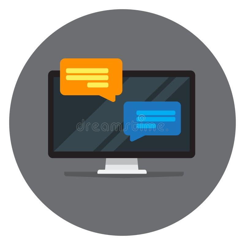 Wektorowy parawanowy wizerunek z podręcznymi powiadomień okno Pomysł komunikacja jest daleko przez smartphones i laptopów ilustracja wektor