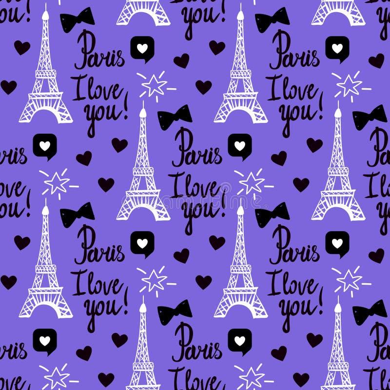 Wektorowy Paryż kocham ciebie bezszwowy wzór Wręcza rysunkowego czerń set wieża eifla, inskrypcj pisać list royalty ilustracja