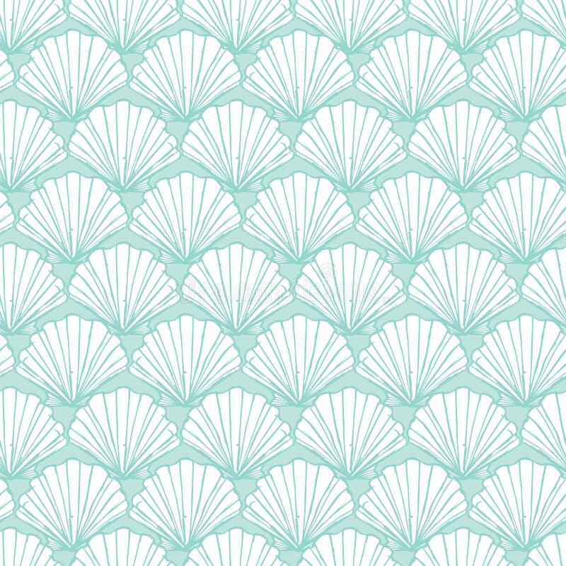 Wektorowy pastelowy aqua seashells powtórki wzór Stosowny dla opakunku, tkaniny i tapety prezenta, ilustracji