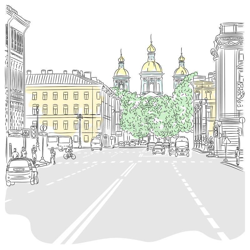 Wektorowy pejzaż miejski szeroka aleja z widokami th ilustracji