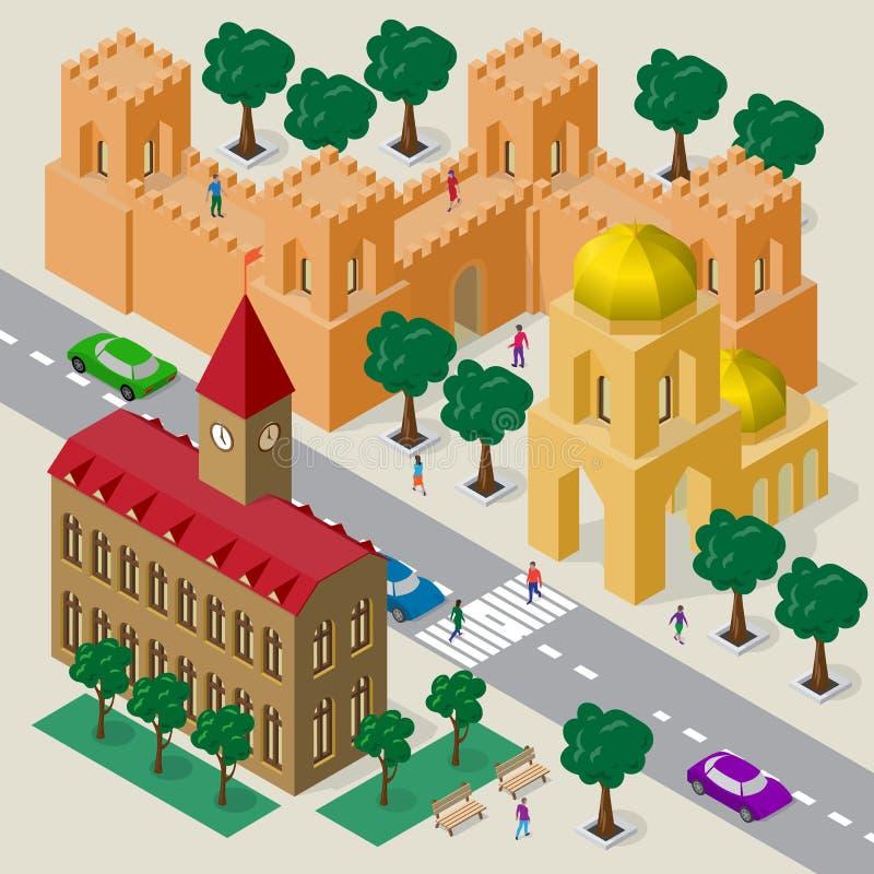 Wektorowy pejzaż miejski w europejczyka stylu Set isometric budynki, urząd miasta, kościół, forteca ściana z góruje, jezdnia, ław ilustracja wektor