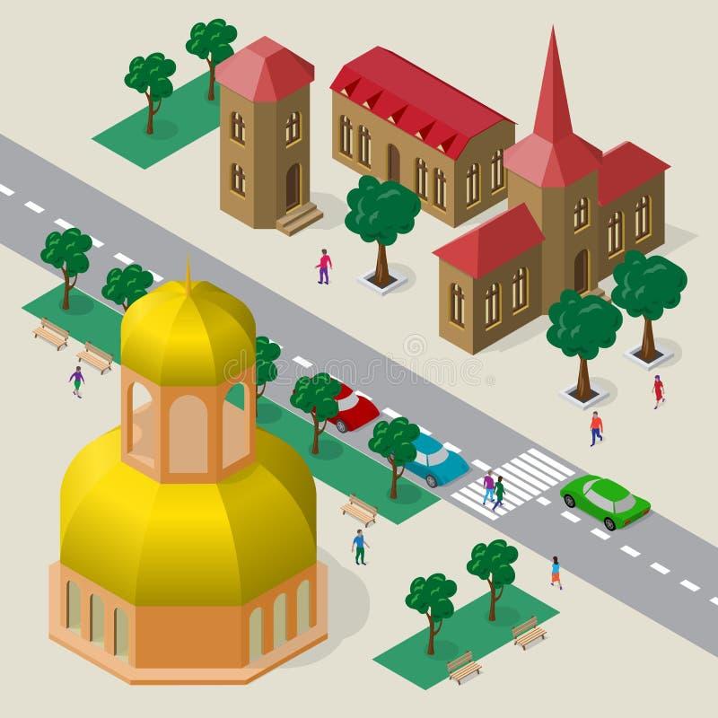 Wektorowy pejzaż miejski w Europejskim architektonicznym stylu Set budynki, kościół, jezdnia, ławki, drzewa, samochody i ludzie i royalty ilustracja
