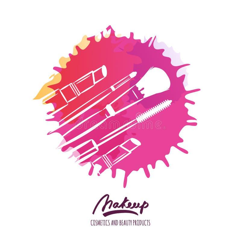 Wektorowy piękno logo lub etykietka projekt Ręka rysująca ilustracja muśnięcie, tusz do rzęs i pomadka makeup, ilustracji
